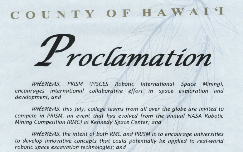 Hawaii County Mayor Billy Kenoi Issues PRISM Proclamation