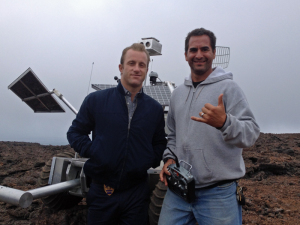 Hawaii 5-0 actor Scott Caan (L) posing with PISCES Project Mgr. Rodrigo Romo in front of the Rover.