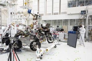 Engineers test imaging cameras mounted on the mast and front chassis of the Mars 2020 rover during Summer 2019 at NASA's Jet Propulsion Laboratory (JPL) in Pasadena, California.  Credit: NASA/JPL-Caltech