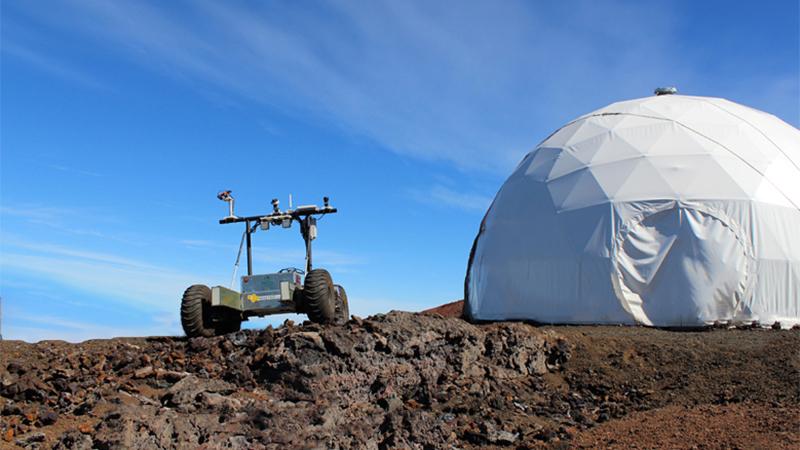 Helelani rover at HI-SEAS habitat on Mauna Loa